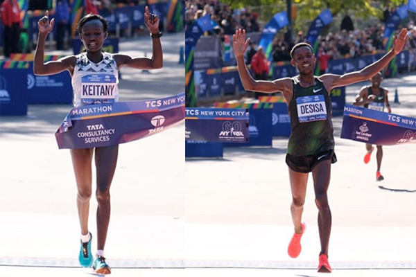 Maratona de Nova Iorque 2918:Mary Keitany (QUE) eLelisa Desisa (ETIO) vencem a prova.