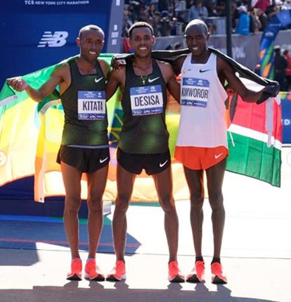 2º lugar:Shura Kitata (ETIO): 2h 06 min 01s 3º lugar: Geoffrey Kamworor (QUE): 2h 06 min 26s Foto: Divulgação
