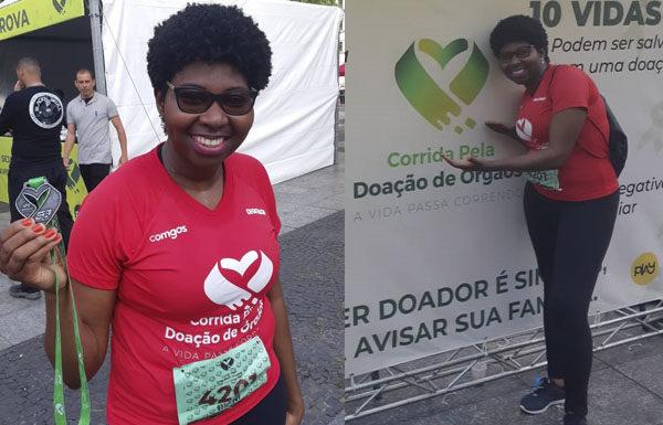 Superação na corrida pela vida: rani Vieira da Cruz participou da prova entre os transplantados.(Crédito: Acervo Pessoal).